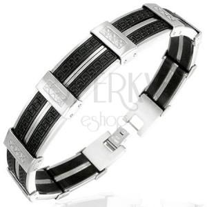 Acélkarkötő - fekete-ezüst sávok görög xxx mintával