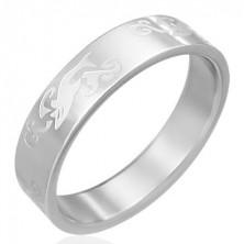 Gyűrű acélból - gravírozott cápa és hullámok