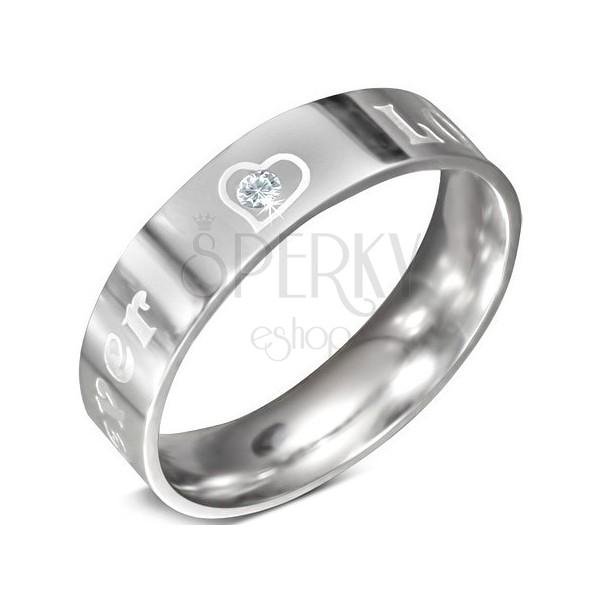 Acél gyűrű - FOREVER LOVE felirat és cirkónia, 6 mm
