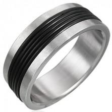 Gyűrű rozsdamentes acélból - fekete kaucsuk díszítés