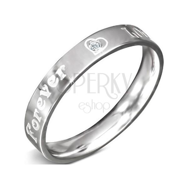 Nemesacél gyűrű - FOREVER LOVE felirat és cirkónia, 3 mm