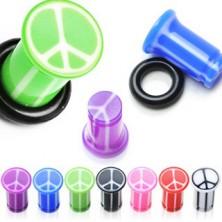 Színes fültágító plug - békejel, csíkos felület, fekete gumi