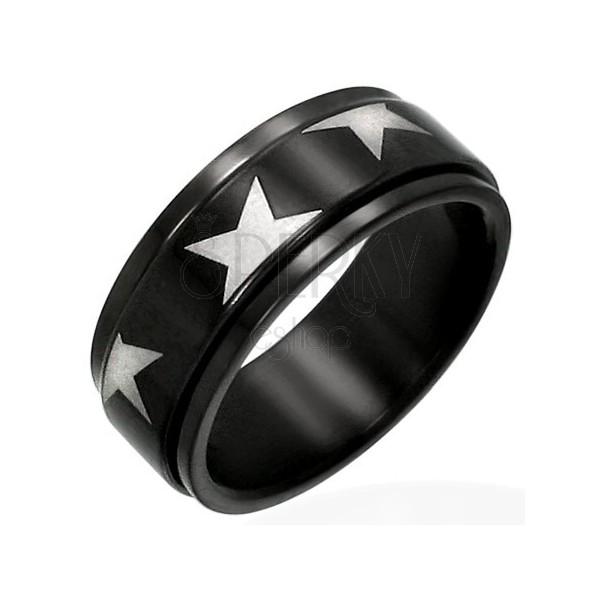 Fekete acél gyűrű - forgatható sáv, szürkés csillagok