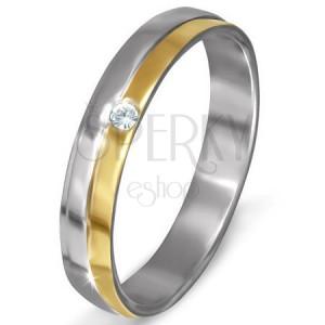 Acél gyűrű ezüst színben - ferde arany sáv, tiszta cirkónia