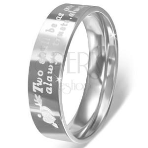 Gyűrű rozsdamentes acélból - szív nyíllal, bemart szerelmes üzenet