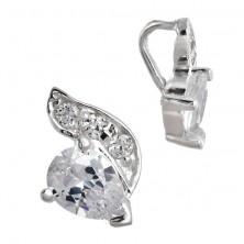 Sterling ezüst medál - könnycsepp cirkónia és hullám