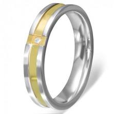 Gyűrű rozsdamentes acélból - keresztezett arany sáv, tiszta kő