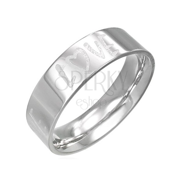 Acél karikagyűrű - egyenes oldalak, gravírozott LOVE felirat