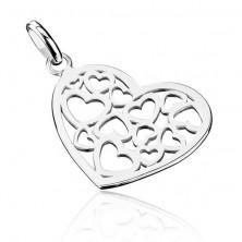 925 ezüst függő - kivágott szívecske