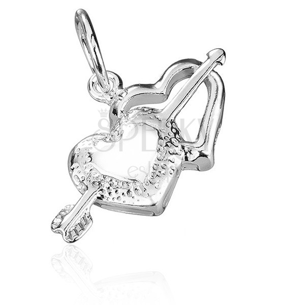Függő 925 ezüstből - Ámor nyila és szívek