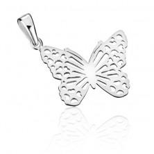Sterling ezüst medál - lapos filigrán pillangó