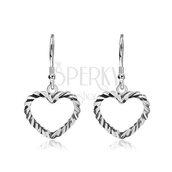Fülbevaló 925 ezüstből - hullámos felületű szívecske