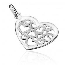 Medál 925 ezüstből - szemcsés filigrán szív