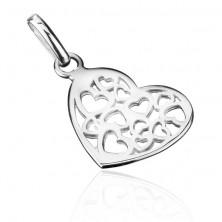 Medál sterling ezüstből - lapos filigrán szív