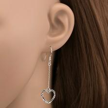 Fülbevaló 925 ezüstből - bordázott szívecske láncon