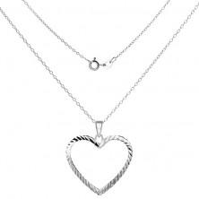 Nyaklánc készlet 925 ezüstből - vékony lánc és szívkörvonal