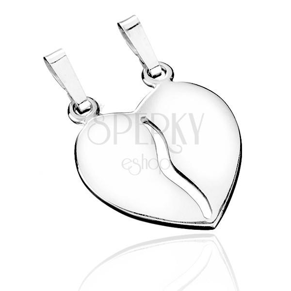 Kettős medál 925 ezüstből - kettéválasztott fényes szív