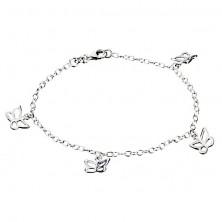 Karkötő ezüstből - pillangók láncon