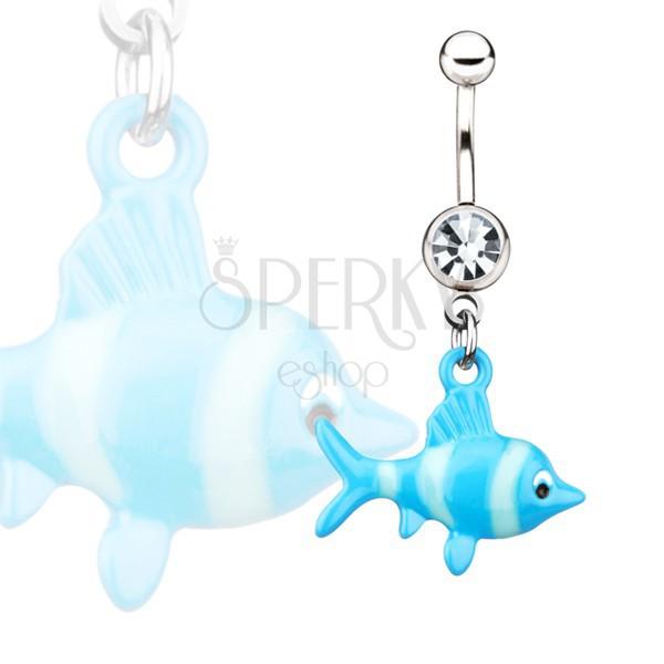 Acél köldök piercing - kék halacska függő