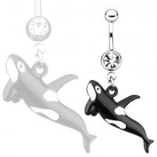 Köldök piercing sebészeti acélból - óriás bálna