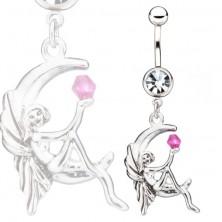 Acél piercing a köldökbe - Holdon ülő tündér egy lila kővel