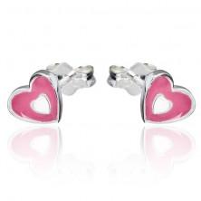 925 ezüst fülbevaló - rózsaszín-fehér szív, bedugós