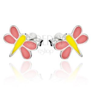 Bedugós fülbevaló 925 ezüstből - rózsaszín-sárga szitakötő