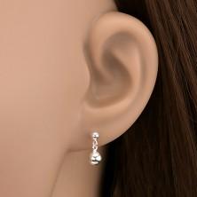 925 ezüst bedugós fülbevaló - gömböcske függő