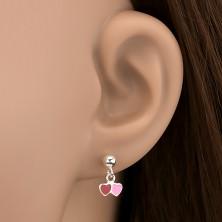 Fülbevaló ezüstből - színes szívecske függők