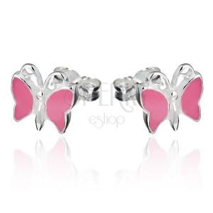 Ezüst beszúrós fülbevaló - rózsaszín pillangó