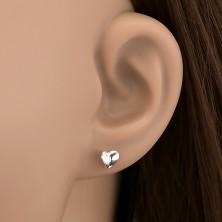 Fülbevaló 925 ezüstből - meghajlított fényes szívecske