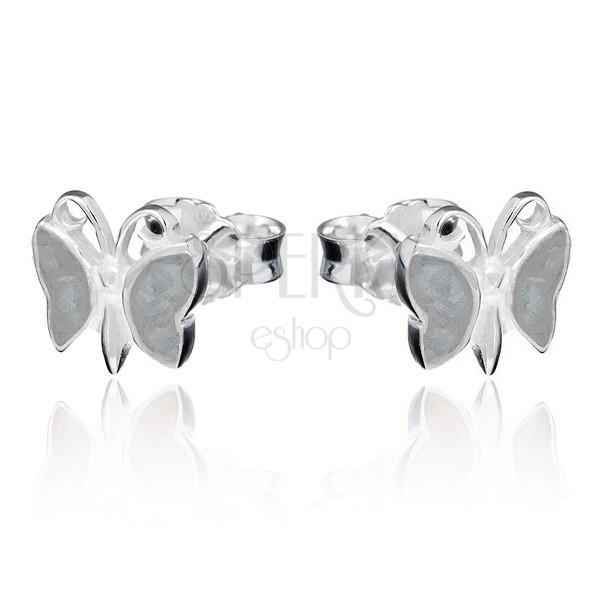 Bedugós fülbevaló 925 ezüstből - szürkésbarna lepke