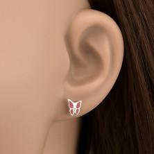 Sterling ezüst fülbevaló - piros és zöld lepke