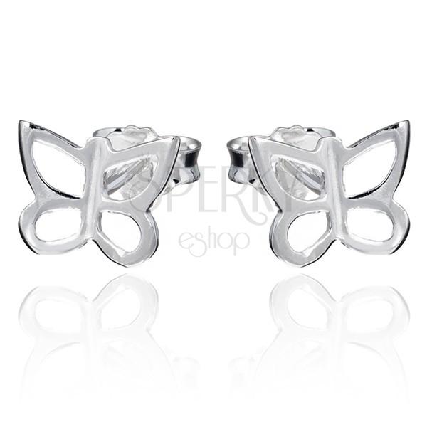 Bedugós fülbevaló 925 ezüstből- lepkekontúr