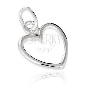 925 ezüst medál - egyszerű szívkörvonal