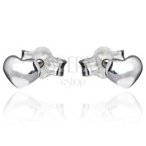 Stekkeres ezüst fülbevaló - fényes domború szívecske