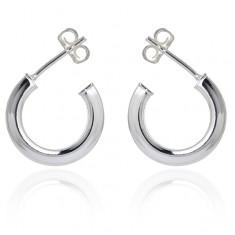 925 ezüst fülbevaló - fényes nyitott karikák, 16 mm