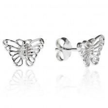 Stekkeres ezüst fülbevaló - filigrán pillangó