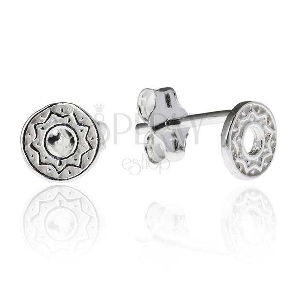 925 ezüst fülbevaló - kivágott körlap cikk-cakk mintával