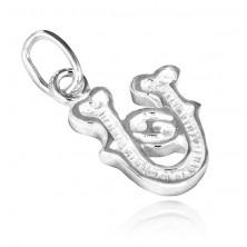 Sterling ezüst medál - U betű kis hullámokkal
