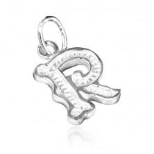 R betű medál 925 ezüstből, mintás szegéllyel