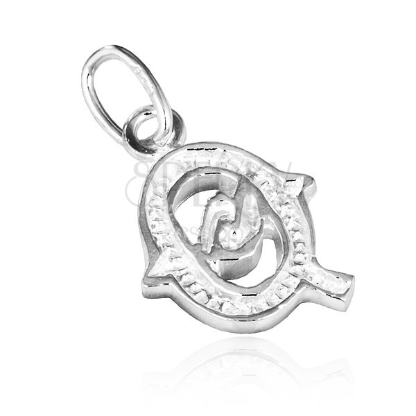 925 ezüst medál - nyomtatott Q betű dekorációval