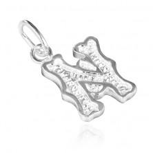 Sterling ezüst medál - mintázott N betű