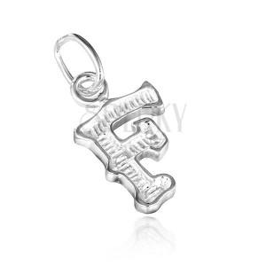 Medál 925 ezüstből - F betű bordázott mintázattal