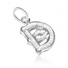 Medál 925-ös ezüstből - díszes D betű