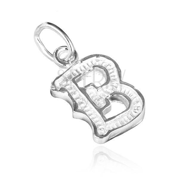 Medál 925 ezüstből - B betű bordázott mintázattal