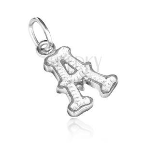 Sterling ezüst medál - mintázott A betű