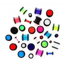 Piercing a fülbe - csillogó neonszínű plug
