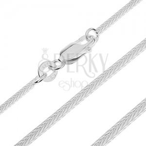 Ezüst nyaklánc - négyszögletes vékony kígyó, 1,2 mm