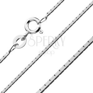 Négyszögletes ezüst nyaklánc - összekapcsolt téglalapok, 0,8 mm